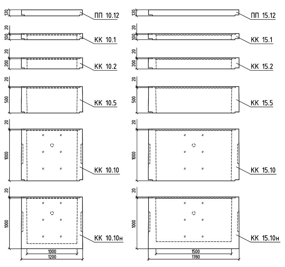 квадратные колодцы чертеж
